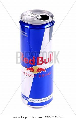 Novyy Urengoy, Russia - April 4, 2018: Opened Aluminium Can Of The Red Bull Energy Drink Isolated Ov