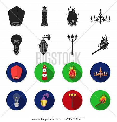 Led Light, Street Lamp, Match.light Source Set Collection Icons In Black, Flet Style Vector Symbol S