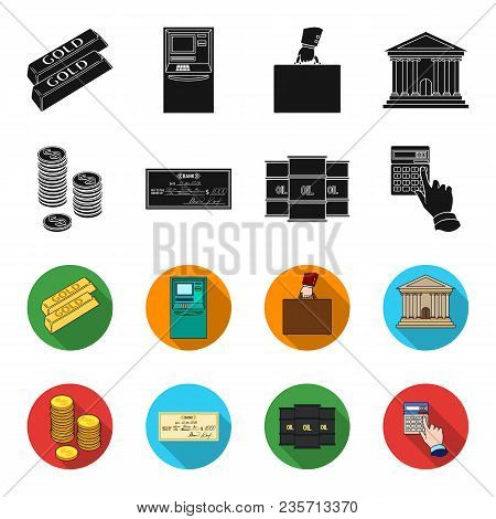 A Stack Of Coins, A Bank Check, A Calculator, Black Gold. Money And Finance Set Collection Icons In