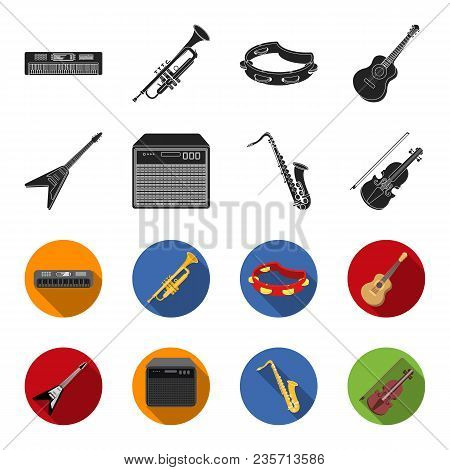 Electric Guitar, Loudspeaker, Saxophone, Violin.music Instruments Set Collection Icons In Black, Fle