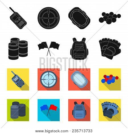 Protective Vest, Gloves And Other Equipment. Paintball Single Icon In Black, Flet Style Vector Symbo