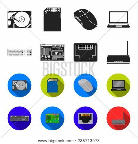 Keyboard, Router, Motherboard And Connector. Personal Computer Set Collection Icons In Black, Flet S