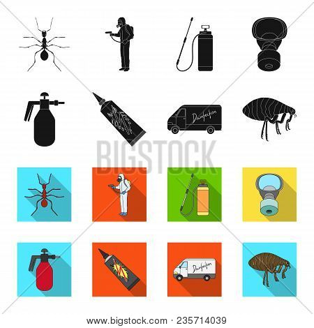 Flea, Special Car And Equipment Black, Flet Icons In Set Collection For Design. Pest Control Service