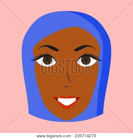 Assembly Of Flat Icons On Theme Arabic Business Portrait Of An Arab Woman