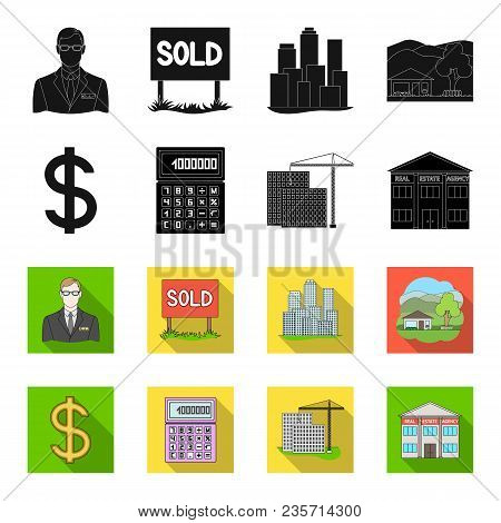 Calculator, Dollar Sign, New Building, Real Estate Offices. Realtor Set Collection Icons In Black, F