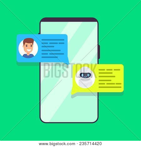 Chatbot Concept. Man Chatting With Chat Bot On Smartphone. Vector Colorful  Illustration