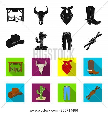 Hat, Cactus, Jeans, Knot On The Lasso. Rodeo Set Collection Icons In Black, Flet Style Vector Symbol
