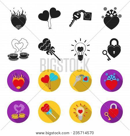 Cups With Coffee, Valentine, Lamp, Lock With Key. Romantic Set Collection Icons In Black, Flet Style