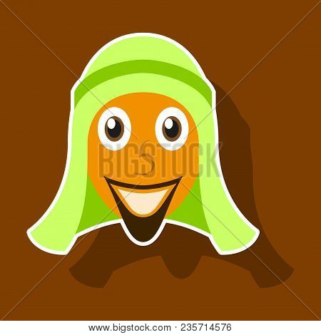 Realistic Paper Sticker On Theme Arabic Business Arabic Man Smiling
