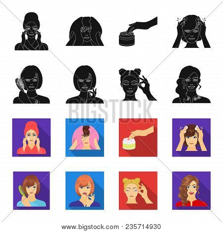 Hairdresser, Cosmetic, Salon, And Other  Icon In Black, Flet Style.means, Hygiene, Care Icons In Set