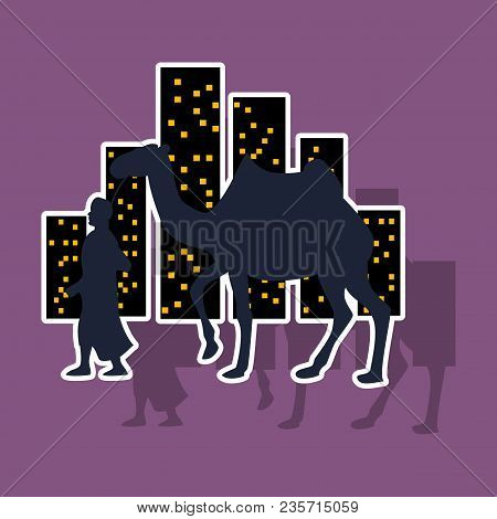 Realistic Paper Sticker On Theme Arabic Business Arab With A Camel