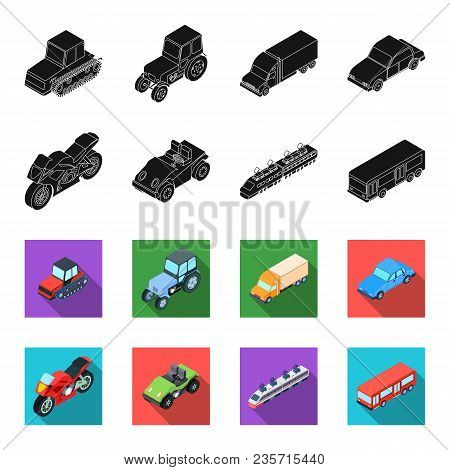Motorcycle, Golf Cart, Train, Bus. Transport Set Collection Icons In Black, Flet Style Vector Symbol