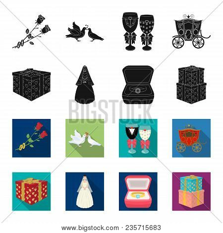 Wedding And Attributes Black, Flet Icons In Set Collection For Design.newlyweds And Accessories Vect