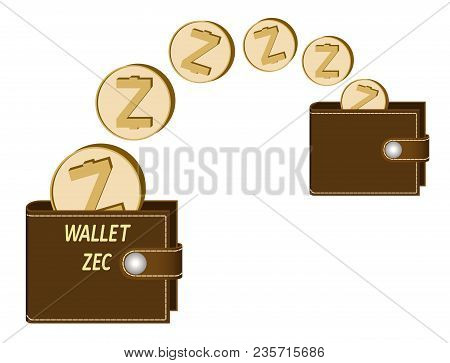 Transfer Zcash Coins From One Wallet To Another On A White Background , Transaction Crypto Currency