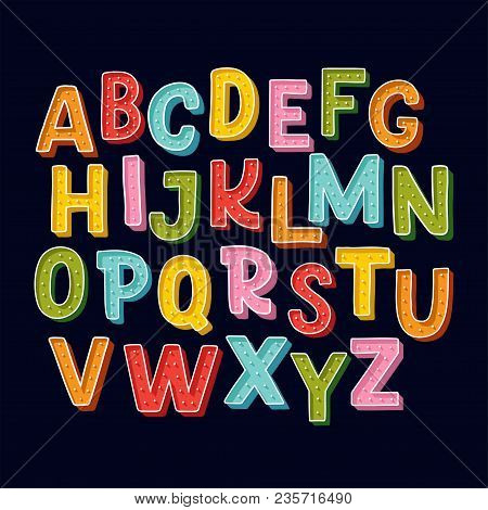 Cute Hand Drawn Alphabet Made In Vector. Doodle Letters For Your Design. Isolated Characters. Handdr