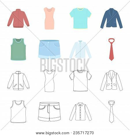 Shirt With Long Sleeves, Shorts, T-shirt, Tie.clothing Set Collection Icons In Cartoon, Outline Styl