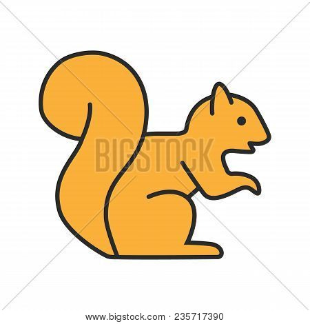 Squirrel Color Icon. Chipmunk. Isolated Vector Illustration
