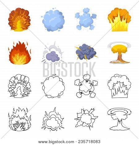 Flame, Sparks, Hydrogen Fragments, Atomic Or Gas Explosion. Explosions Set Collection Icons In Carto