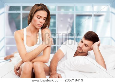 Man Bed Woman Sad Person Love Female