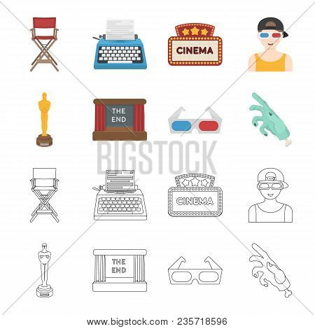Award Oscar, Movie Screen, 3d Glasses. Films And Film Set Collection Icons In Cartoon, Outline Style