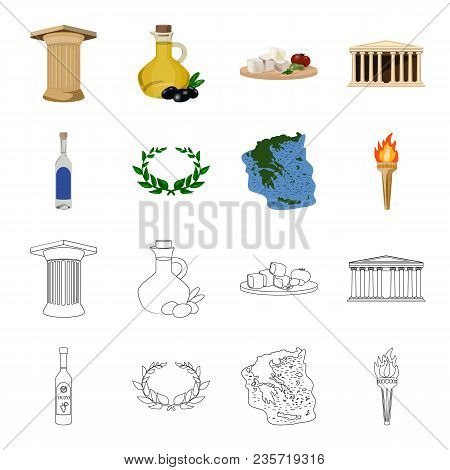 Greece, Country, Tradition, Landmark .greece Set Collection Icons In Cartoon, Outline Style Vector S