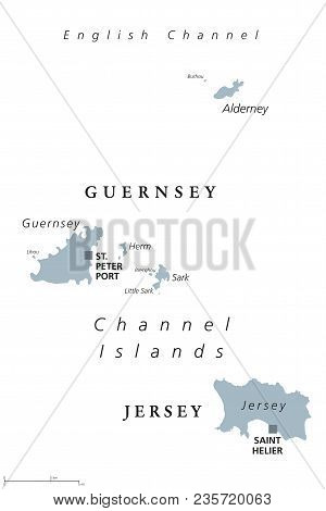 Guernsey And Jersey Political Map. Channel Islands. Crown Dependencies. Archipelago In English Chann