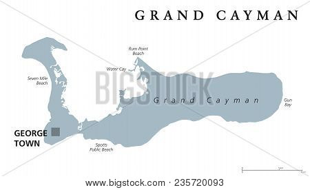 Grand Cayman Political Map With Capital George Town. Largest Of The Cayman Islands. British Overseas