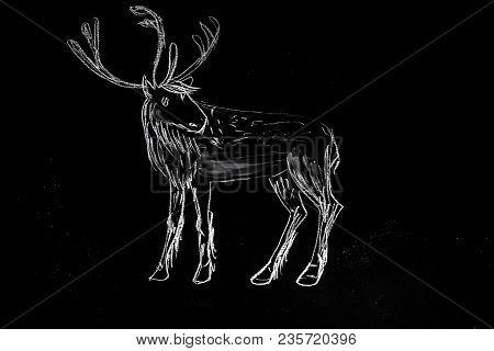 Chalk Drawn Christmas Deer Silhouette On Black Chalkboard