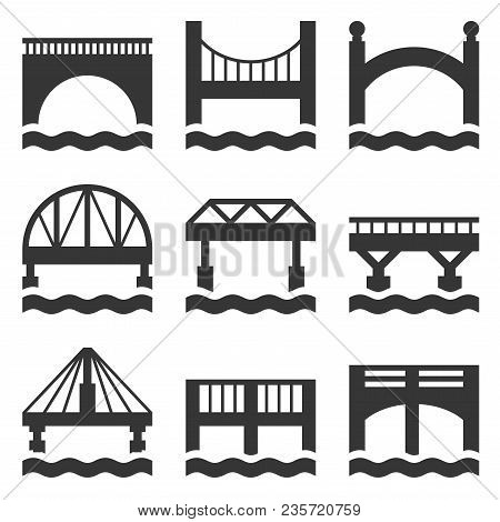 Bridge Icons Set On White Background. Vector Illustration