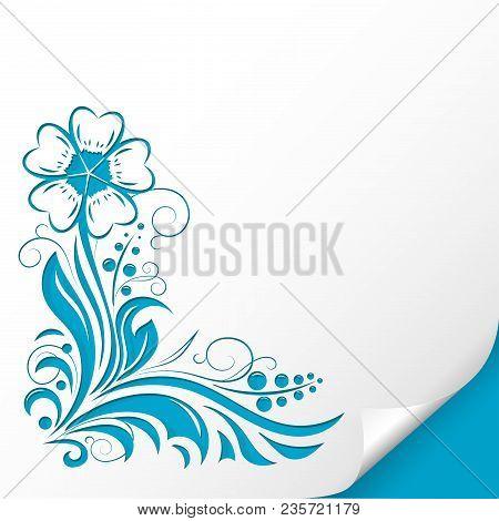 Decorative Flower. Embossed Blue Ornamental Illustration. On Paper Sheet. Vector Illustration