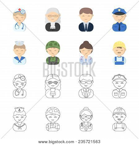 Sailor, Soldier, Scientist, Builder.profession Set Collection Icons In Cartoon, Outline Style Vector