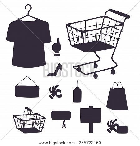 Shopping Supermarket Vector Store Shop Silhouette Grocery Retro Cartoon Icons Set With Customers Car