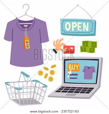 Shopping Supermarket Vector Store Shop Grocery Retro Cartoon Icons Set With Customers Carts Baskets