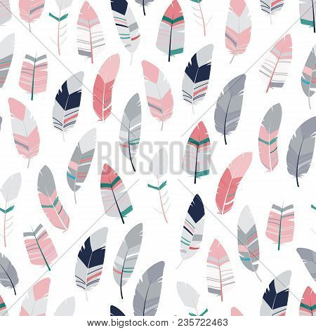 Seamless Feathers Pattern. Scandinavian Colorful Design Background. Stock Vector