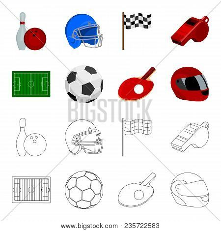 Field, Stadium With Markings For Playing Football, Football Ball, Racket With A Ball For Ping-pong,