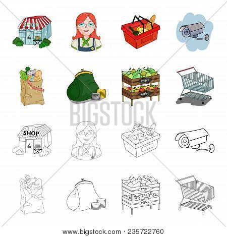 Sausages, Fruit, Cart .supermarket Set Collection Icons In Cartoon, Outline Style Vector Symbol Stoc