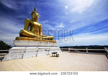 Big Buddha Statue In Gold Color Of Thailand