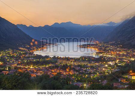 Sunset Bay Of Kotor (boka Kotorska) At Adriatic Sea, Southwestern Montenegro. Night Airview With Fir