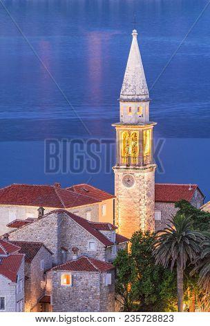 Campanile Della Chiesa Di San Giovanni Battista With Tower Clock In Budva Old Medieval Walled City A