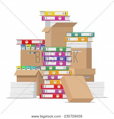 Unorganized Files. Pile Of Unfinished Business Office Documents Isolated On White Background, Paperw