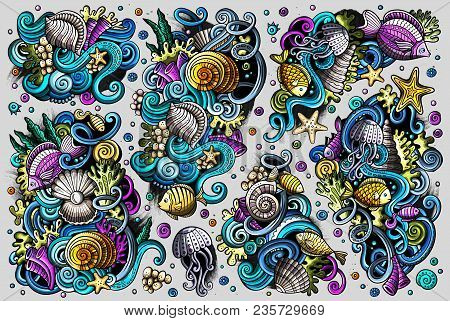 Colorful Vector Hand Drawn Doodles Cartoon Set Of Sealife Combinations Of Objects And Elements