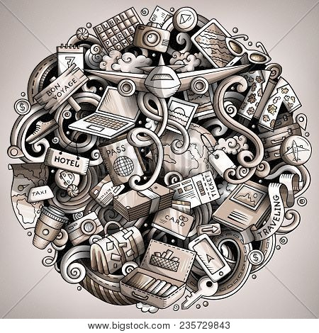 Cartoon Vector Doodles Travel Illustration. Monochrome, Detailed, With Lots Of Objects Background. A