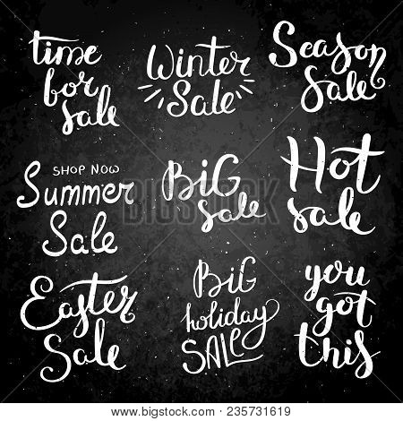 Season Sale. Set Of Hand Drawn Vector Lettering Phrases. Modern Motivating Calligraphy Decor For Wal