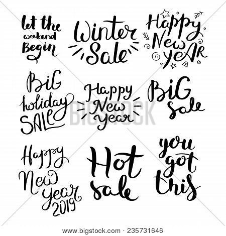 Christmas Sale. Set Of Hand Drawn Vector Lettering Phrases. Modern Motivating Calligraphy Decor For