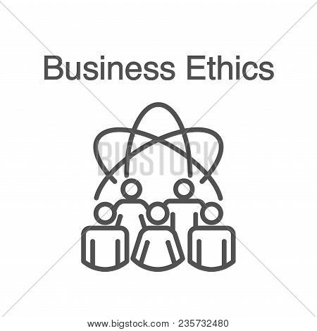 Business Ethics Solid Icon w people sharing ideas. poster