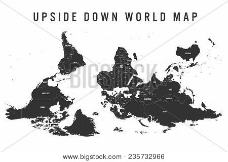 Reversed Or Upside Down Political Map Of World. South-up Orientation. Vector Illustration.