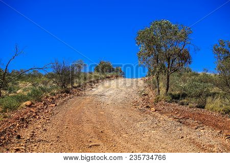 Road In Mountain Off Road, Gravel Uphill