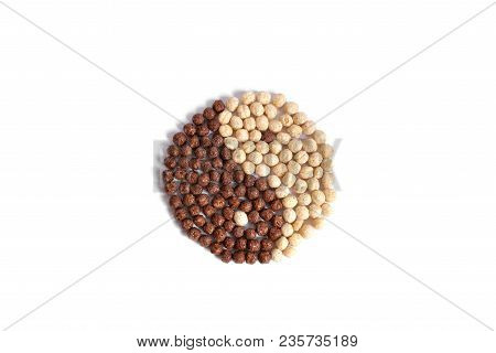 Dry Cereal Breakfast, Stacked In The Form Of A Yin-yang Harmony Symbol On A White Background