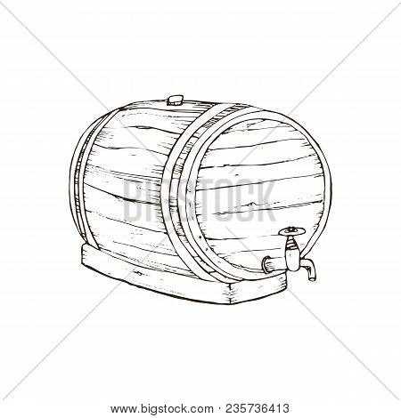 Hand Drawn Wooden Barrel With Craft Beer Isolated On White Background. Barrel Sketch Vector Illustar