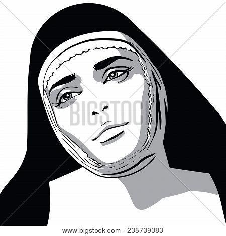 Beautiful Nun Woman Portrait. Vector. Black And White Style. Illustration